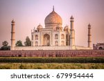 the taj mahal is an ivory white ... | Shutterstock . vector #679954444