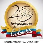 golden round button with... | Shutterstock .eps vector #679955689