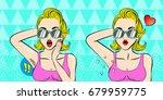 pop of cartoon woman do... | Shutterstock .eps vector #679959775