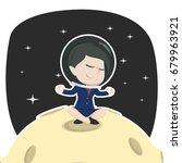 asian businesswoman doing yoga... | Shutterstock .eps vector #679963921