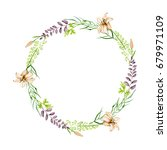 watercolor floral round wreath... | Shutterstock . vector #679971109