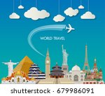 world famous landmark paper art.... | Shutterstock .eps vector #679986091