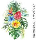 watercolor floral flower... | Shutterstock . vector #679997257