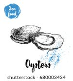 hand drawn oysters composition. ... | Shutterstock .eps vector #680003434
