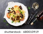 pasta with seafood and white... | Shutterstock . vector #680010919