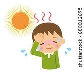 children with heat stroke. | Shutterstock .eps vector #680012695