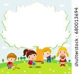 happy children and tree | Shutterstock .eps vector #680013694