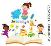 happy children and book | Shutterstock .eps vector #680014774