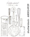 kitchen utensil. vintage style. | Shutterstock .eps vector #680014939
