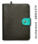 Black and green leather cover note book on white - stock photo