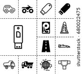 drive icon. set of 13 filled...   Shutterstock .eps vector #680022475