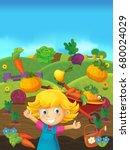 cartoon scene of girl on the...   Shutterstock . vector #680024029
