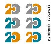 20 twenty puzzle linked number... | Shutterstock .eps vector #680024851