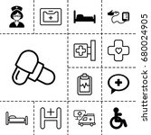 hospital icon. set of 13 filled ... | Shutterstock .eps vector #680024905