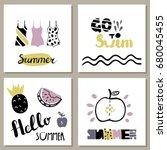 vector set of bright summer... | Shutterstock .eps vector #680045455