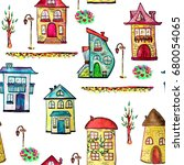 watercolor city with fairy and... | Shutterstock . vector #680054065