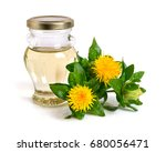 safflower plant with oil in the ... | Shutterstock . vector #680056471
