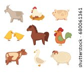 funny animals from farm... | Shutterstock .eps vector #680061361