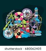 marine doodle elements  hand... | Shutterstock .eps vector #680062405