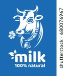 cow natural milk illustration   ... | Shutterstock .eps vector #680076967