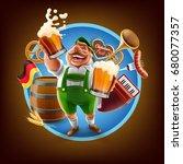 beer festival cartoon... | Shutterstock .eps vector #680077357