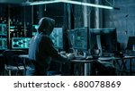hooded hacker using his comuter ... | Shutterstock . vector #680078869