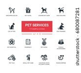 Stock vector pet services set of vector icons pictograms grooming hotel hospital show taxi memorial 680087281