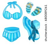 swimsuit  hat  slates vector | Shutterstock .eps vector #680089261