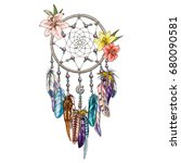 hand drawn ornate dream catcher ... | Shutterstock .eps vector #680090581