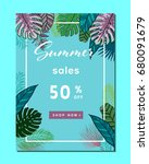 summer sale background layout... | Shutterstock .eps vector #680091679