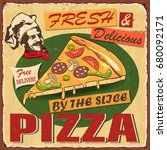 vintage pizza metal sign. | Shutterstock .eps vector #680092171