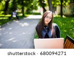 young woman with tablet on the... | Shutterstock . vector #680094271