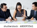 vietnamese business people... | Shutterstock . vector #680095561