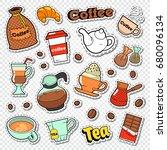 coffee and tea doodle. hot... | Shutterstock .eps vector #680096134