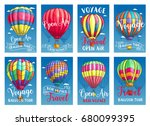 hot air balloon tourist voyage... | Shutterstock .eps vector #680099395