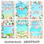 hello summer floral banner set. ... | Shutterstock .eps vector #680099659