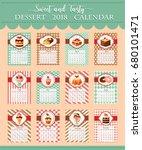 calendar 2018 of desserts and...   Shutterstock .eps vector #680101471