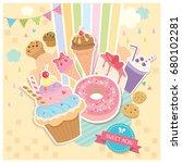 vector of sweet menu dessert...   Shutterstock .eps vector #680102281