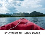 front boat view. red canoe boat ... | Shutterstock . vector #680110285