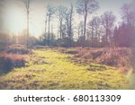 low sun through trees in... | Shutterstock . vector #680113309