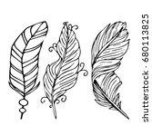 feather vector illustration on... | Shutterstock .eps vector #680113825