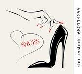 high heel shoe and woman hand... | Shutterstock .eps vector #680114299