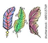 feather illustration on white... | Shutterstock . vector #680115769