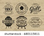 retro grill badges and labels... | Shutterstock .eps vector #680115811