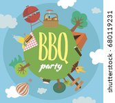 summer picnic party invitation... | Shutterstock .eps vector #680119231