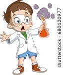 scientist kid holding an... | Shutterstock .eps vector #680120977
