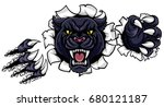 a black panther angry animal... | Shutterstock .eps vector #680121187