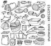 hand drawn doodle pets stuff...   Shutterstock .eps vector #680122915