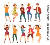 set of dancing woman with... | Shutterstock .eps vector #680129509