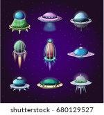set of rockets and alien... | Shutterstock .eps vector #680129527